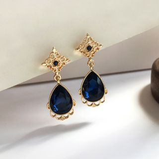Sapphire | Crystal | Earring | Dangle | Stud | Faux | Gold | Blue | Size | Ear | One
