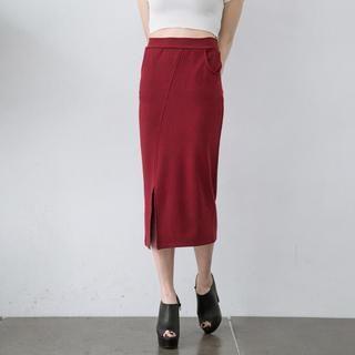 Slit-Side Pencil Skirt