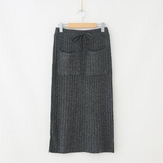 Ribbed Midi Knit Skirt 1063946424