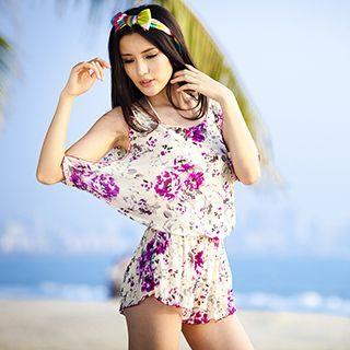 Set: Frill Trim Bikini + Floral Print Playsuit 1049350725