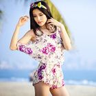 Set: Frill Trim Bikini + Floral Print Playsuit 1596