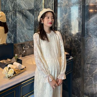 Image of Maternity Bell-Sleeve Midi Lace Dress