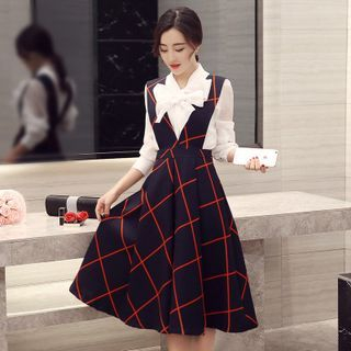 set-bow-long-sleeve-blouse-check-jumper-dress