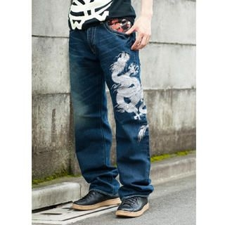 Picture of Buden Akindo [Men] Print Washed Straight-Leg Jeans - Flying Dragon 1020448437 (Buden Akindo, Mens Denim, Japan)