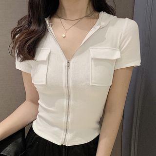 Image of Hood Short-Sleeve Zip Top / Sweatpants
