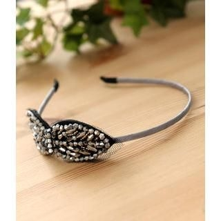 Accessories Beaded Bow Headband Silver - One Size