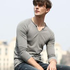 Split-neck Long-Sleeve T-shirt 1596