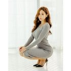 Button-Detail Ribbed Knit Dress 1596