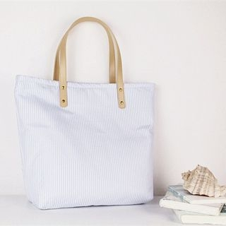 Pinstriped Canvas Tote Bag 1053163056
