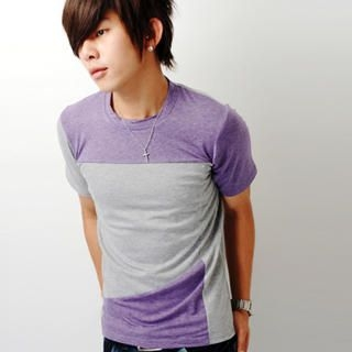 Buy SLOWTOWN Short-Sleeve Color-Block T-Shirt 1022963724