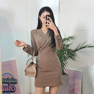 Wrapped-Lapel Mini Sheath Dress 1065289201