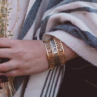 Image of Couple Matching Coordinated Perforated Open Bangle