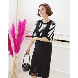 Set: Lace-Detail Knit Pinafore Dress + Stripe Knit Top 1061722521