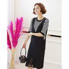 Set: Lace-Detail Knit Pinafore Dress + Stripe Knit Top 1596