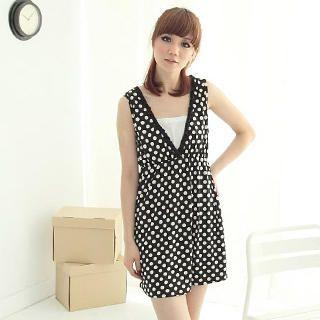 Buy CatWorld V-Neck Sleeveless Dotted Dress 1022964453