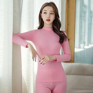 Image of Pajama Set: Mock-Neck Long-Sleeve Top + Pants