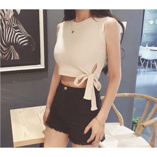 Ribbed Cropped Sleeveless Top 1051136311