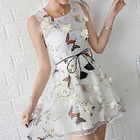 Flower Accent Butterfly Print Sleeveless A-Line Dress 1596