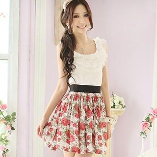 Buy Tokyo Fashion Sleeveless Ruffle Mock Two-Piece Dress 1022968510