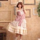 Short-Sleeve Layered Lace Dress 1596