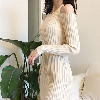 Cold Shoulder Ribbed Knit Dress 1062909021