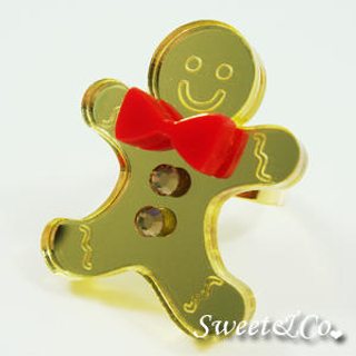 Gingerbread | Swarovski | Crystal | Mirror | Sweet | Ring | Gold