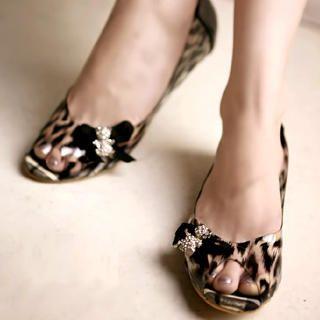"""Buy Kvoll Rhinestone """"Bow"""" Leopard Print Clear Flats 1022740590"""