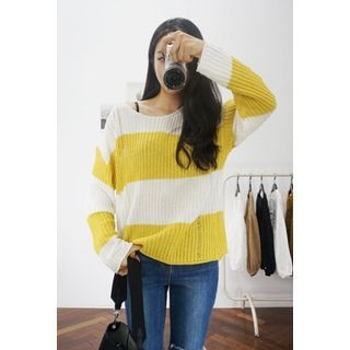 Stripe Ribbed Knit Top 1052890175