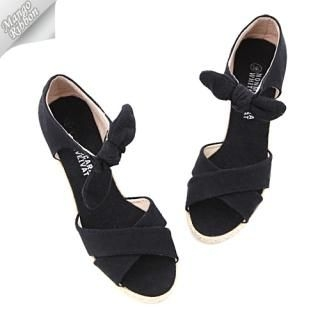 Picture of Mango Ribbon Wedge Sandals 1022991015 (Sandals, Mango Ribbon Shoes, Korea Shoes, Womens Shoes, Womens Sandals)