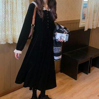 Long-sleeve | Velvet | Black | Dress | Lace | Size | One