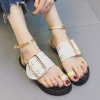Buckled Faux-Leather Flat Sandals 1596
