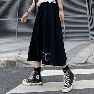 Image of Butterfly Midi A-Line Skirt