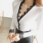 Lace-Trim Ribbed Cardigan 1596