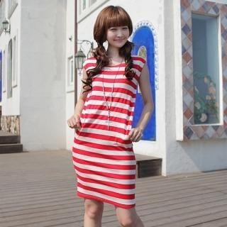 Buy CLICK Cap-Sleeve Striped Dress 1022978773