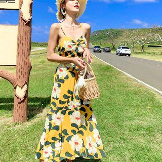 Spaghetti   Sundress   Chiffon   Floral   Strap   Print