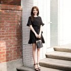 Short-Sleeve Tie-Waist Ruffled Dress 1596