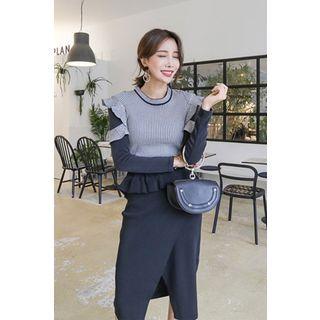 Set: Frilled-Trim Color-Block Knit Top + Wrap-Front Midi Skirt 1062104857