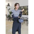Set: Frilled-Trim Color-Block Knit Top + Wrap-Front Midi Skirt 1596