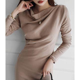 Draped-front Slit-side Long Dress