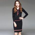Set: Contrast-Trim Knit Top + Pencil Skirt 1596