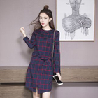 Long-Sleeve Plaid Dress 1596