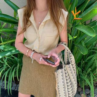 NANING9 Linen Blend A-Line Miniskirt