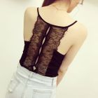 Lace Trim Ribbed Camisole Top 1596