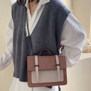 Image of Chain Strap Two-Tone Top Handle Crossbody Bag