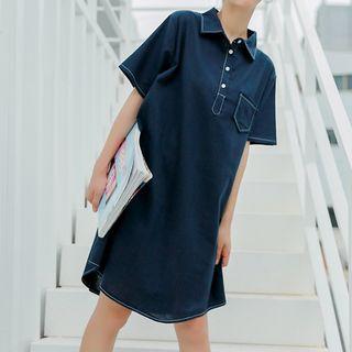 Short-sleeve   Denim   Dress   Polo   Navy   Blue   Size   One