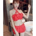 Set: Crochet Tank Top / Strappy Bikini Top + Swim Skirt 1596
