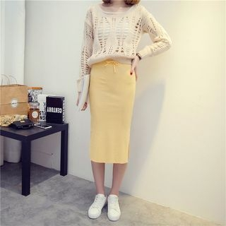 Ribbed Midi Skirt 1053294604