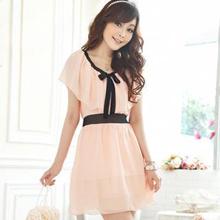 Buy Tokyo Fashion Cape-Collar Tie-Neck Chiffon Dress 1022937149