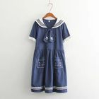 Cat Embroidered Sailor Collar A-Line Dress 1596
