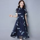 Crane Print Short Sleeve Mandarin Collar Midi Dress 1596